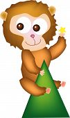 vector illustration for a giant monkey climb on top of hill and pick a star from sky poster