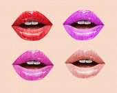 Pink, red and nude sensual juicy lips collection. Mouth set. Vector lipstick or lip gloss 3d realistic illustration. poster