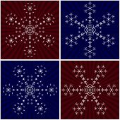 Set of white snowflakes from snowflakes on backgrounds with rays poster