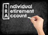 IRA - Individual Retirement Account concept. Hand writing by white chalk on a blackboard. poster