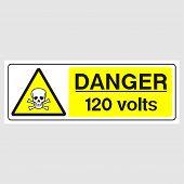 "Plate: ""Danger. 120 Volts"". Sign: ""Danger. 120 Volts"" on a gray background poster"