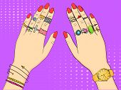 Pop art colored vector illustration. Hands of women in fashion jewelry, rings, jewelry, watches and Bijou. Background imitation retro comics poster