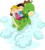 Illustration of Kids Riding a Dragon poster