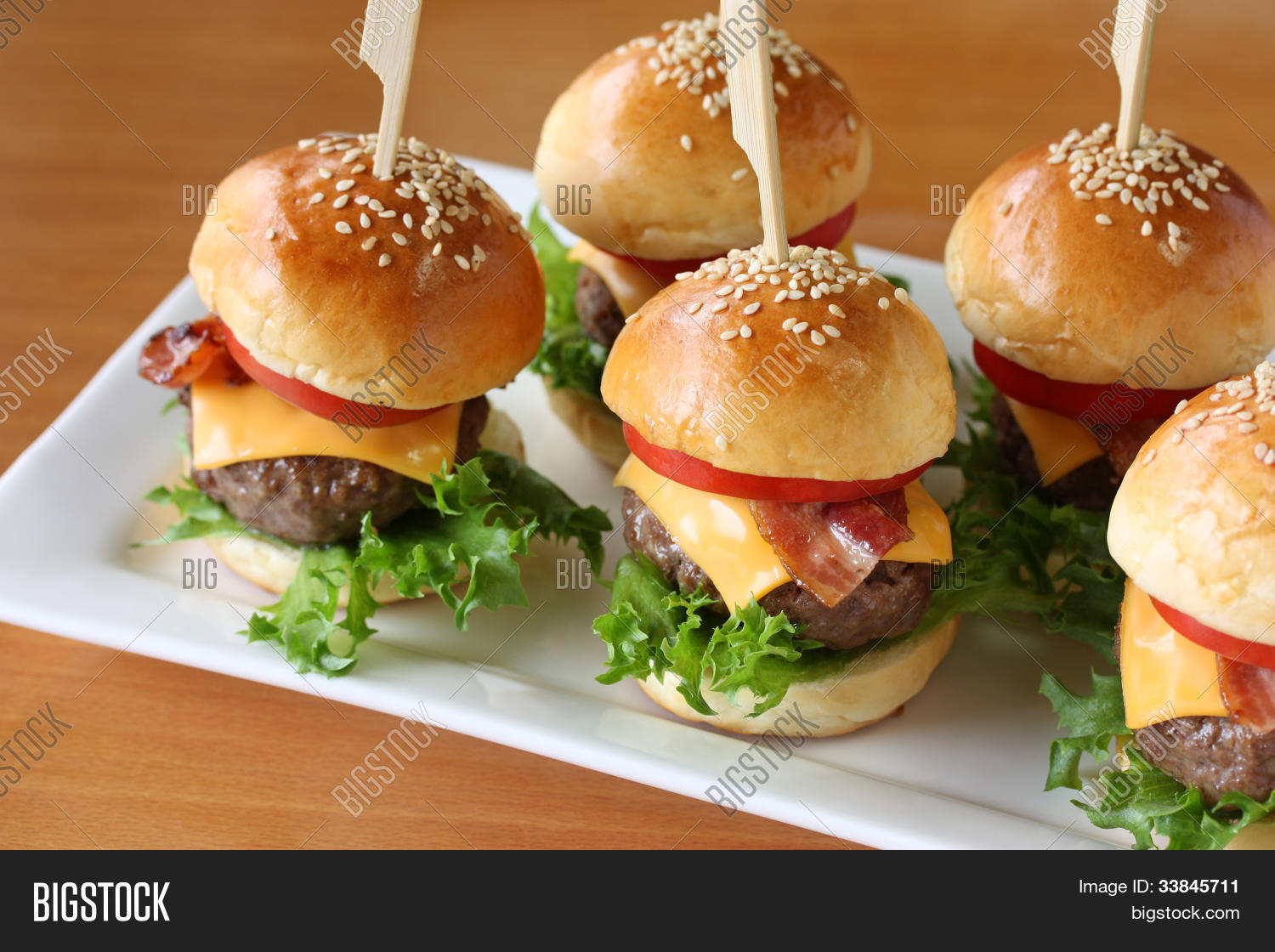 mini hamburgers mini burgers image photo bigstock. Black Bedroom Furniture Sets. Home Design Ideas