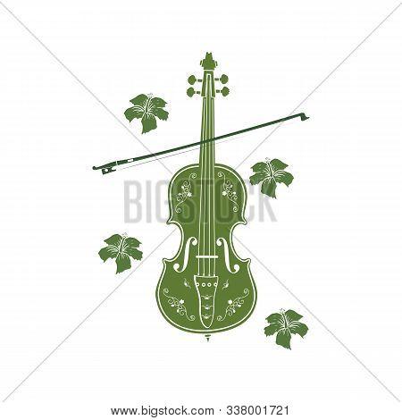 Green Leaf Violin Or Cello Logo And Icon