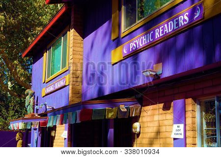October 17, 2019 In Sedona, Az:  Colrful Purple Building Taken At The Center Of The New Age Store Wh