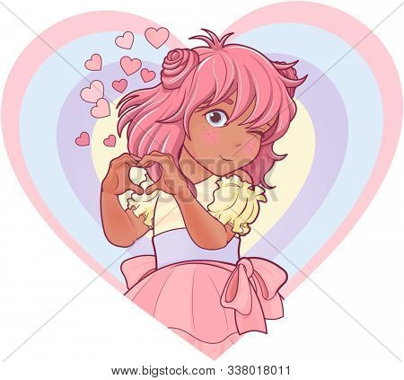 Kawaii girl showing heart shape gesture