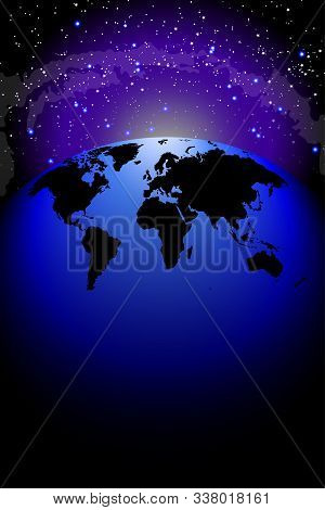 Planet Earth Hemisphere Of The Globe Against The Blackness Of Space, Copy Space. The Planet On The B