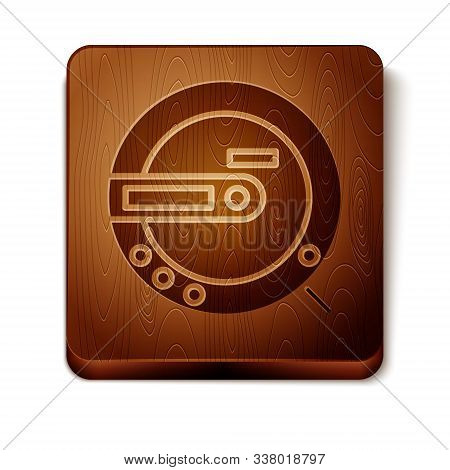 Brown Music Cd Player Icon Isolated On White Background. Portable Music Device. Wooden Square Button
