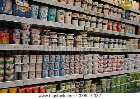 Dubai Uae December 2019 Variety Of Yogurt In Shelf In Shop. Greek, Plain, Flavored, Fruit Yogurt. In