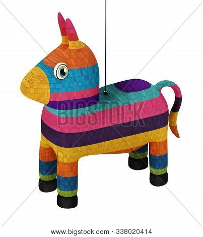 Multi Colored Pinata Isolated On White Background. 3d Illustration.