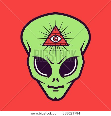Alien Head With A Masonic Triangle Sign With An Eye. Secret Society. Flat Vector Illustration.