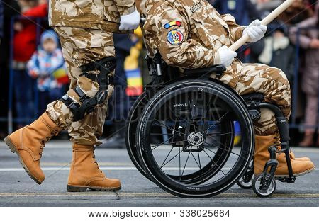 Bucharest, Romania - December 03, 2019: Romanian Army Veteran Soldiers, Injured And Disabled (one Si
