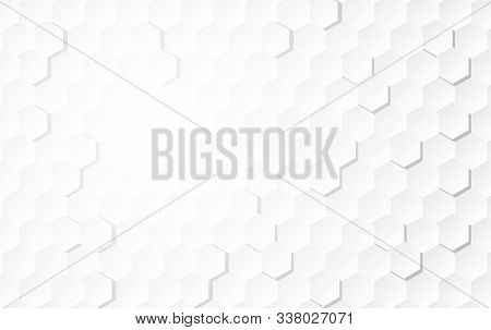 Abstract White Background Of Embossed Surface Hexagon,honeycomb Modern Pattern Concept, Creative Lig