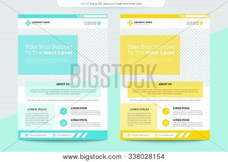 Blue And Yellow Flyer Template For Advertising Your Business