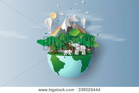 Illustration Of Elephants In Green Trees Forest,creative Origami Design World Environment And Earth