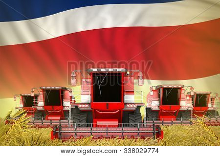 A Lot Of Red Farming Combine Harvesters On Grain Field With Costa Rica Flag Background - Front View,