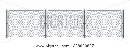 Security metal fence or police steel chain link barrier, wire construction for enclosure for mma or cage, border for concert or protection, chained boundary or net obstacle. Keep or wall, danger gate poster