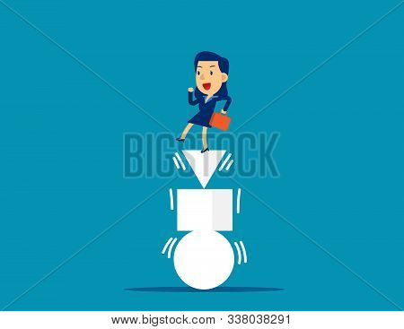 Businesswoman And Balanced. Concept Business Vector Illustration, Equilibrium, Challenge.