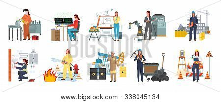 Women Working As Firefighter Vector, Lady Building Constructions Flat Style. Modern Women Set Profes