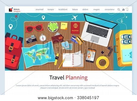Time To Travel Vector, Traveling Plan With Laptop And Map Continents, Rucksack And Book, Wallet Mone