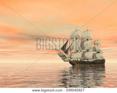 Old Merchant Ship On The Ocean - 3d Render