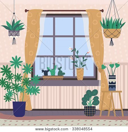 Greenhouse With Plants On Shelves Vector, Room Interior Filled With Flora In Pots. Window With Curta