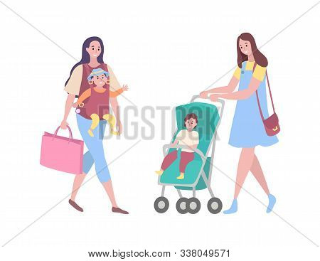 Mother And Child Vector, Woman Walking With Kid Isolated. Infant In Perambulator, Boy Son And Lady,