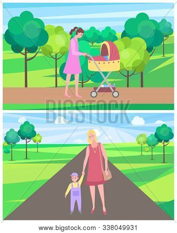 Summer Park Vector, Woman Spending Time With Kid, Child And Happy Pastime. Perambulator With Newborn