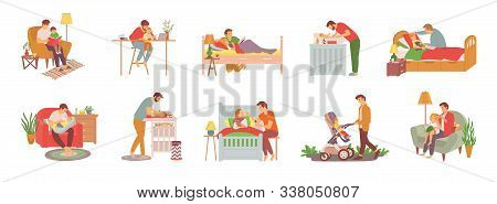 Parent With Child Vector, Man Reading Book To Daughter Before Sleep, Walking Kid In Perambulator, Fe