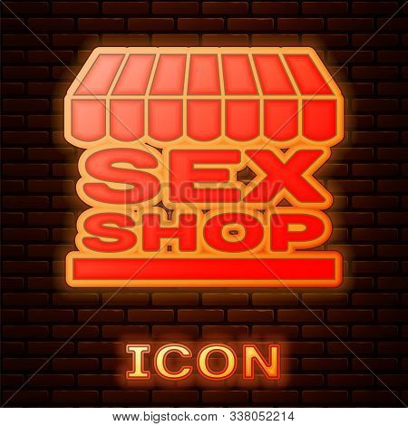 Glowing Neon Sex Shop Building With Striped Awning Icon Isolated On Brick Wall Background. Sex Shop,