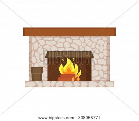 Fireplace Of Home Interior Item Isolated Icon Vector. Stone Construction, Bucket With Poles And Wood