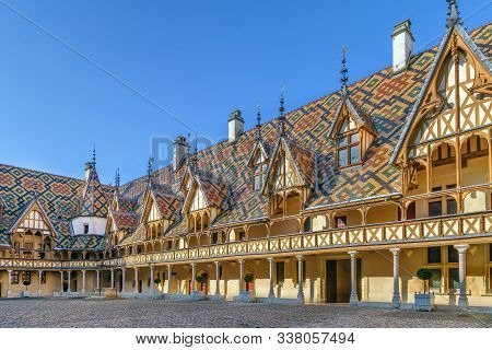 Hospices De Beaune Or Hotel-dieu De Beaune Is A Former Charitable Almshouse In Beaune, France. Court