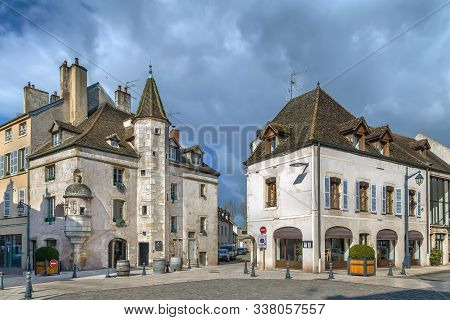 Street With Historical Houses In Beaune Downtown, France