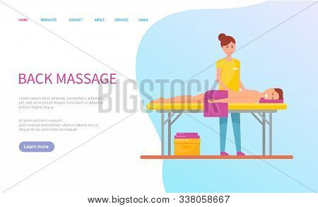 Back Massage For Lying Woman With Towel, Smiling Client On Table And Professional Masseur. Website R