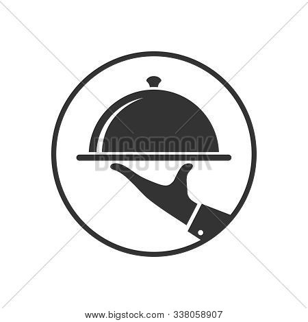 Serving Food Graphic Icon In The Circle. Hand Of Waiter With Serving Tray Sign. Waiter Serving Symbo