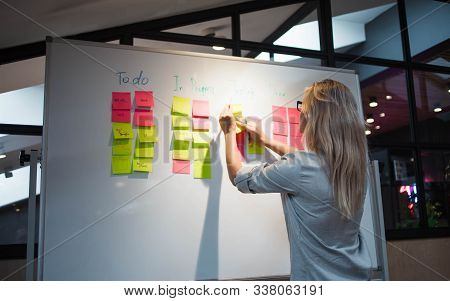 Project Management, Agile Methodology. Young Business Woman In The Office Are Planning Product Devel