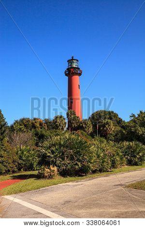 Outside The Jupiter Inlet Lighthouse In Jupiter, Florida
