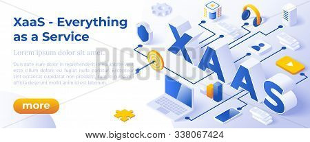 Xaas - Everything As A Service Or On-demand - Isometric Concept In Trendy Colors. Cloud Computing Se