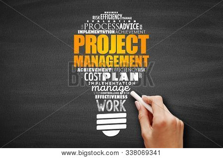 Project Management Light Bulb Word Cloud Collage, Business Concept Background