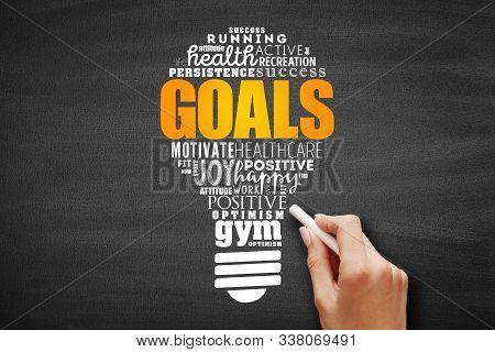 Goals Light Bulb Word Cloud Collage, Fitness, Sport, Health Concept