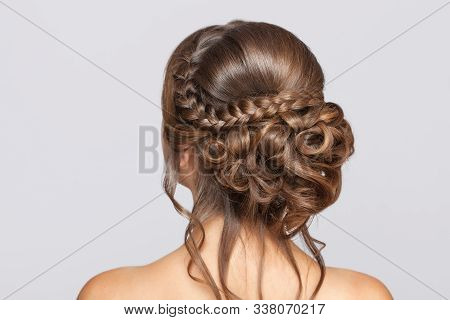 Portrait Of A Beautiful Sensual Light Brown Haired Woman With A Wedding Hairstyle And Nude Make-up I