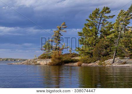 Pine Trees On The Rugged Shoreline Of Georgian Bay, Ontario, Canada