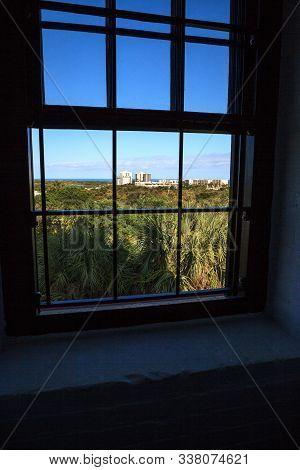 Window Of The Jupiter Inlet Lighthouse In Jupiter