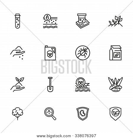 Soil Icon Set. Line Icons Collection On White Background. Gardening, Fertilizer, Pesticide. Agricult