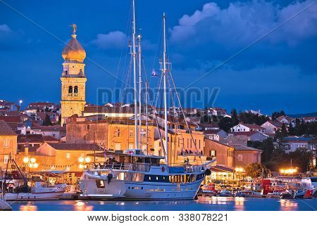 Krk. Island Town Of Krk Evening Waterfront View, Kvarner Region Of Croatia