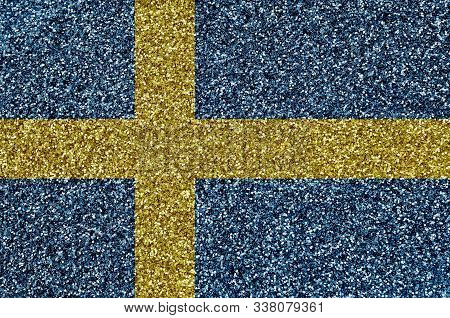 Sweden Flag Depicted On Many Small Shiny Sequins. Colorful Festival Background For Party