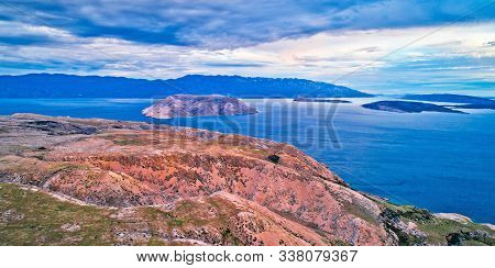 Island Of Krk Stone Desert And Prvic Island Aerial Panoramic View Near Stara Baska, Layers Of Stone