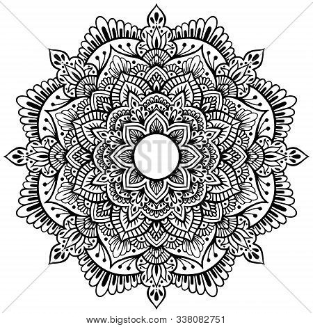 Mandala Circular Pattern With Flower For Mehndi, Henna, Tattoo, Background. Decorative Ornament In E