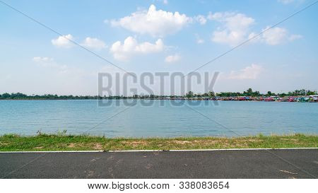 Tungkula Lake With Blue Sky Background In Surin Thailand